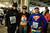 Super hero runners, l to r; Patrick Teague and Robert Handily from the Uk and Jamie Corado from Pamoma before the start of the LA Marathon Sunday at Dodger Stadium. Photo by David Crane/Staff Photographer