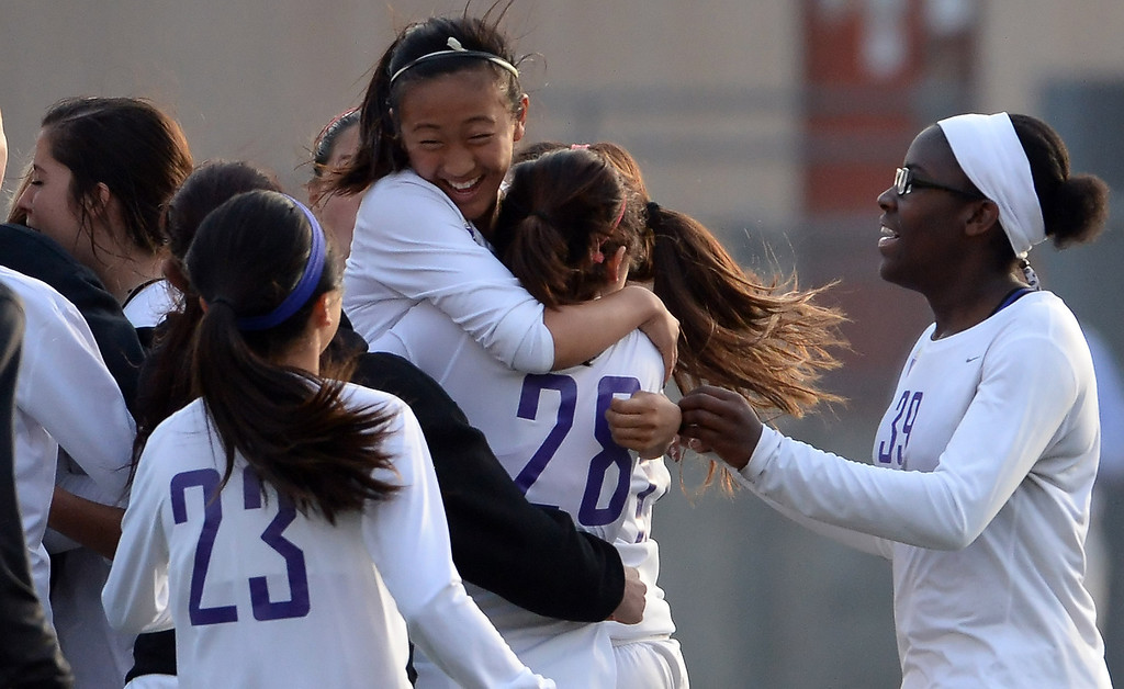 Description of . Diamond Bar reacts after defeating Bishop Amat 3-2 during a CIF-SS second round prep playoff soccer match at Diamond Bar High School in Diamond Bar, Calif., on Wednesday, Feb.26, 2014.