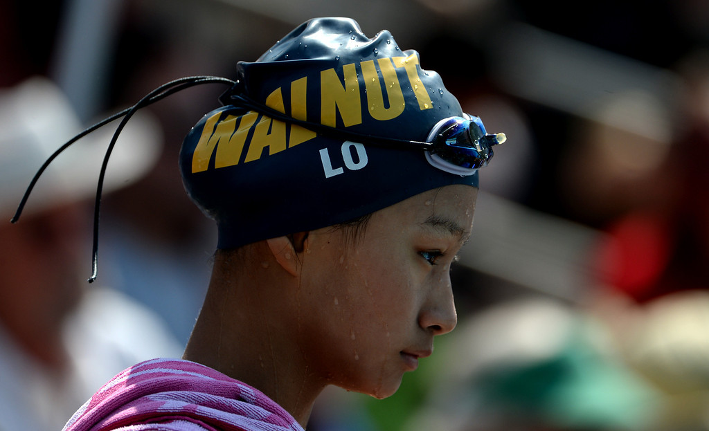 Description of . Walnut's Theresa Lo during the Division 2 CIF Southern Section Swimming Championships in the Riverside Aquatics Complex at Riverside City College in Riverside, Calif., on Saturday, May 17, 2014.