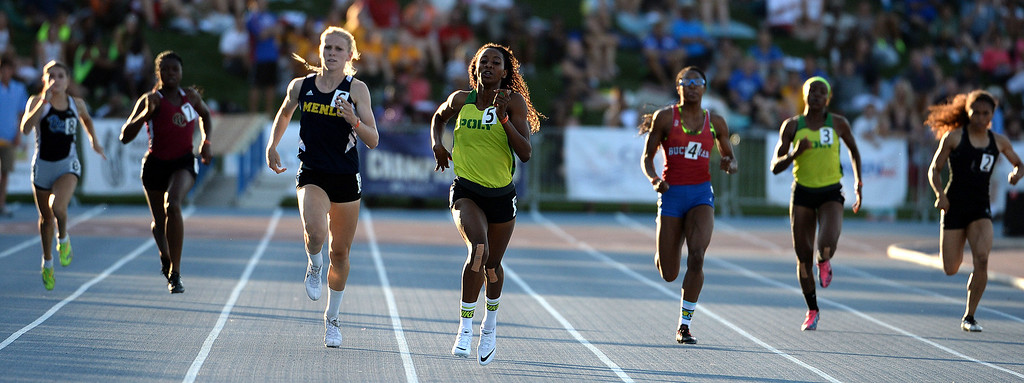 Description of . Long Beach Poly's Kaelin Roberts, center, wins the 400 meter dash during the CIF California State Track & Field Championships at Veteran's Memorial Stadium on the campus of Buchanan High School in Clovis, Calif., on Saturday, June 7, 2014.   (Keith Birmingham/Pasadena Star-News)