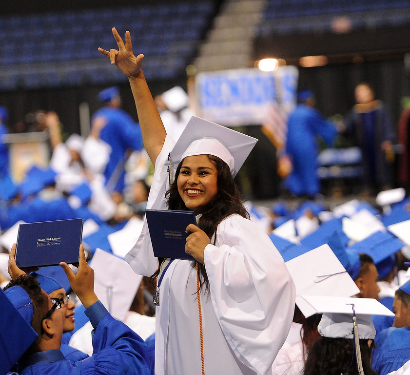 Description of . Students enjoy the Rialto High School Commencement Exercises held at Citizens Bank Arena in Ontario June 2, 2013.  GABRIEL LUIS ACOSTA/STAFF PHOTOGRAPHER.
