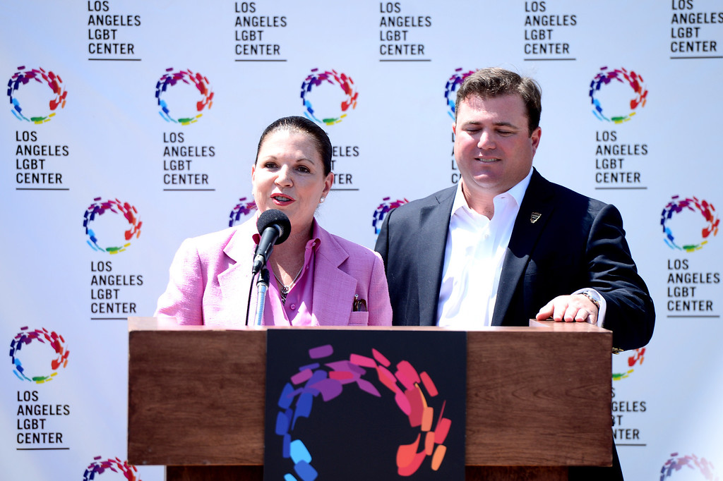 Description of . Philanthropist Anita May Rosenstein and her son Brian speak about their support for the Los Angeles LGBT Center, as the center announces a $25 million campaign to develop an affordable housing campus for LGBT youth and seniors Tuesday, May 27, 2014 on Santa Monica Boulevard in Hollywood and adjacent to their cultural center. Around 40 percent of the more than 6,000 homeless youth in Los Angeles identify as lesbian, gay, bisexual or transgender and the city has 65,000 LGBT seniors according to the L.A. Gay & Lesbian Center. (Photo by Sarah Reingewirtz/Pasadena Star-News)