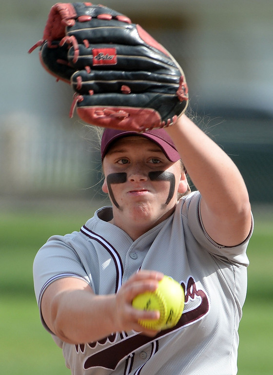 Description of . West Covina starting pitcher Maddy Tickey throws to the plate against Bonita in the first inning of a prep softball game at Los Flores Park in La Verne, Calif., on Thursday, March 27, 2014. Bonita won 6-3. (Keith Birmingham Pasadena Star-News)