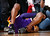 ATLANTA, GA - MARCH 13:  Kobe Bryant #24 of the Los Angeles Lakers falls the floor after missing the game-tying basket in the final seconds of their 96-92 loss to the Atlanta Hawks at Philips Arena on March 13, 2013 in Atlanta, Georgia.  NOTE TO USER: User expressly acknowledges and agrees that, by downloading and or using this photograph, User is consenting to the terms and conditions of the Getty Images License Agreement.  (Photo by Kevin C. Cox/Getty Images)