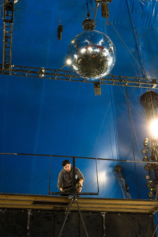 Description of . Circus Vargas acrobat  and crew member, Josue Marinelli, 27, helps set up the trampoline for his act in the Thursday night opening, at Ontario Mills Mall, on Wednesday, March 26, 2014. (Photo by Frank Perez for the Daily Bulletin)