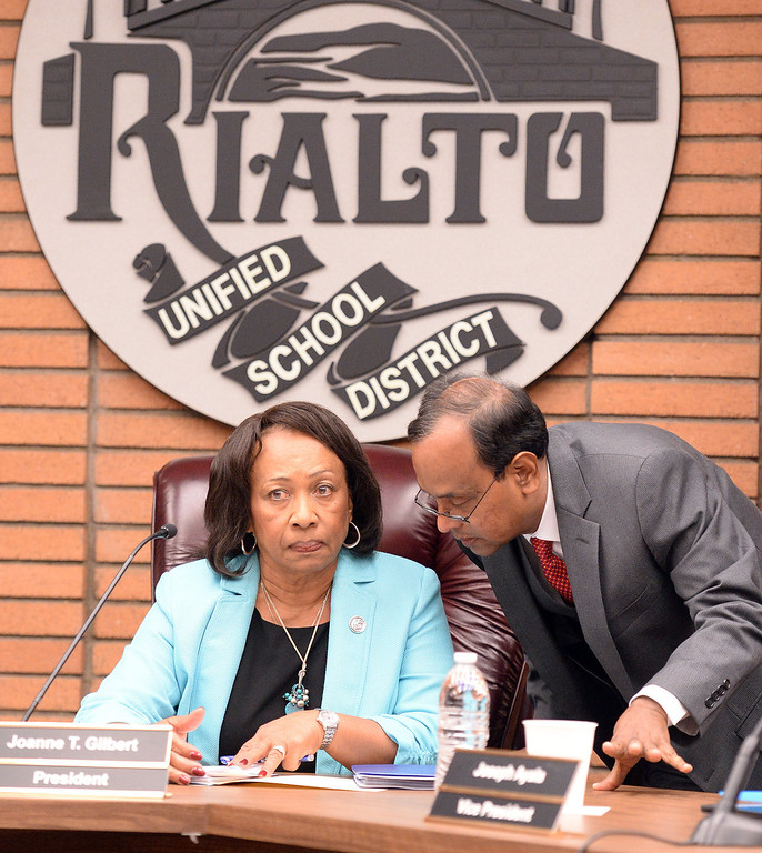Description of . The Rialto Unified School District board held a special emergency meeting Wednesday May 7, 2014 to address the critical thinking assignment given to middle school students on whether the Holocaust occurred or was merely a political scheme created to influence public emotion and gain. (Will Lester/Inland Valley Daily Bulletin)