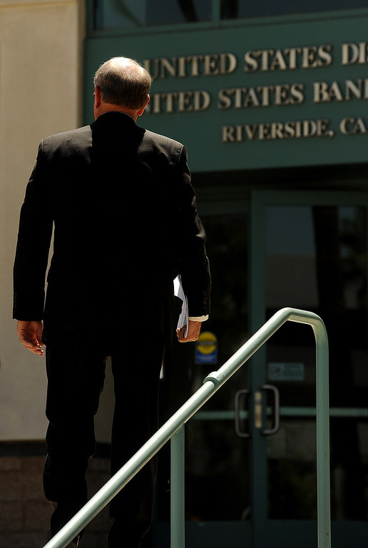 Description of . San Bernardino mayor Patrick Morris arrives to the United States Bankruptcy Court in Riverside August 28, 2013.  GABRIEL LUIS ACOSTA/STAFF PHOTOGRAPHER.