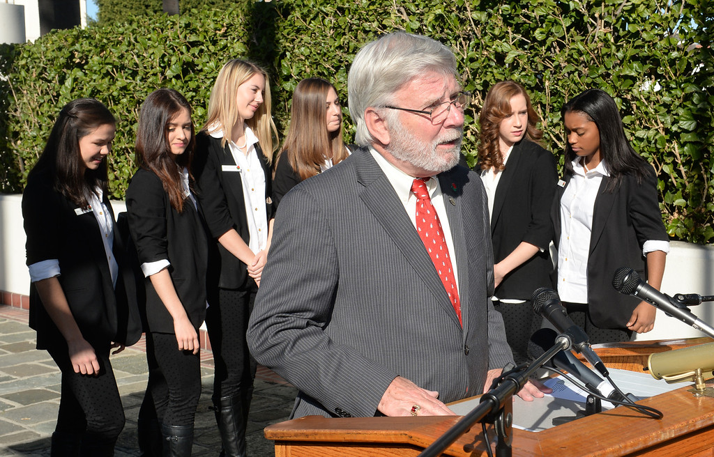 Description of . Arthur Leahy, CEO pf the Metropolitan Transportation Authority, with the 2014 Tournament of Roses Queen and Rose Princesses, speaks from historic Union Station on Friday December 27, 2013. The event is to commemorate the 10th official year of Metro Rail service to the Tournament of Roses parade events at Union Station. (Staff Photo by Keith Durflinger/Pasadena Star-News)