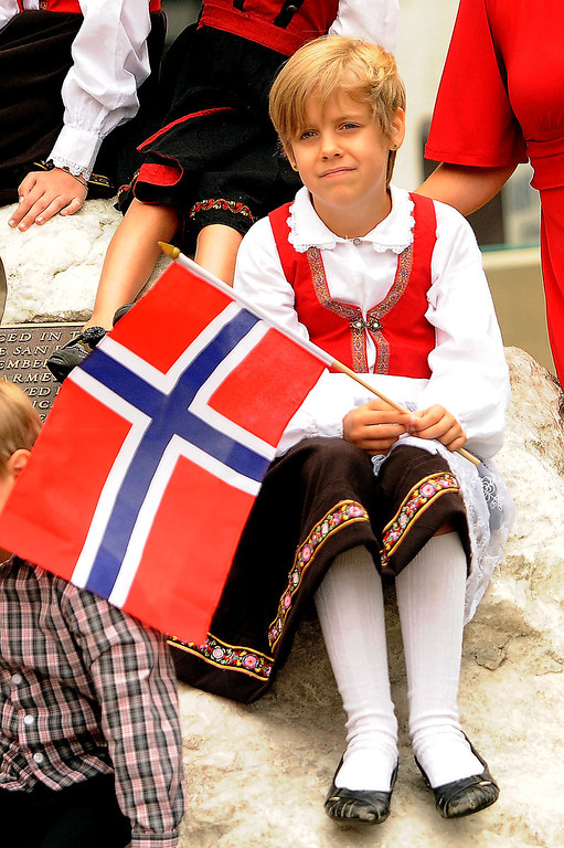 Description of . Freya Hendrickson, 9, is dressed in traditional Scandanavian garments during the Sons of Norway's Celebration of Norway's Constitution Day in downtown San Bernardino May 17, 2013.  GABRIEL LUIS ACOSTA/STAFF PHOTOGRAPHER.