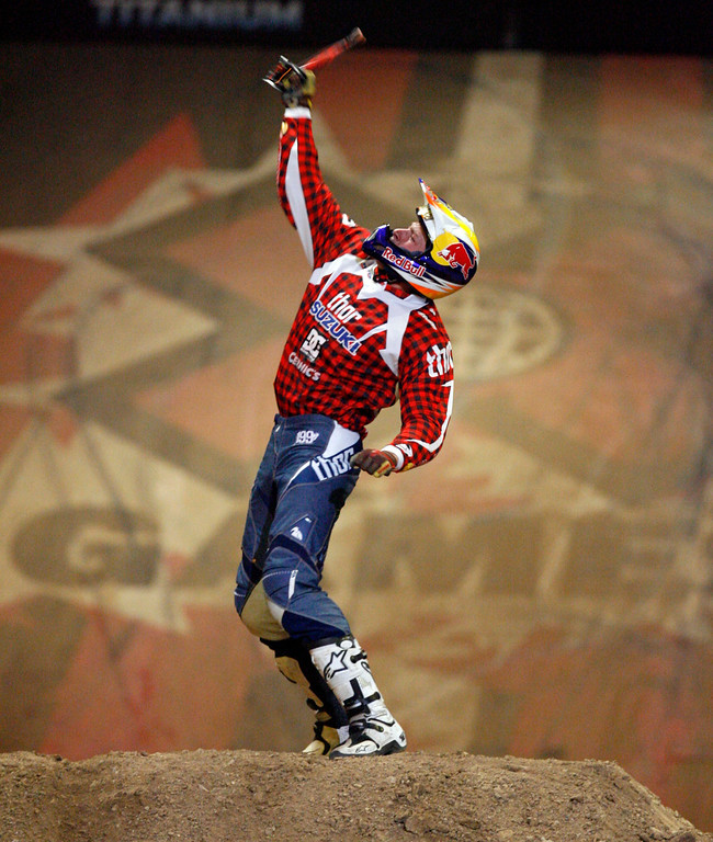 Description of . Travis Pastrana performs the first ever double backflip at the X Games for the gold in the Moto X Best Trick Final during the X Games Twelve at the Staples Center August 4. 2006.  (SGVNStaff Photo Keith Birmingham/SXSports)