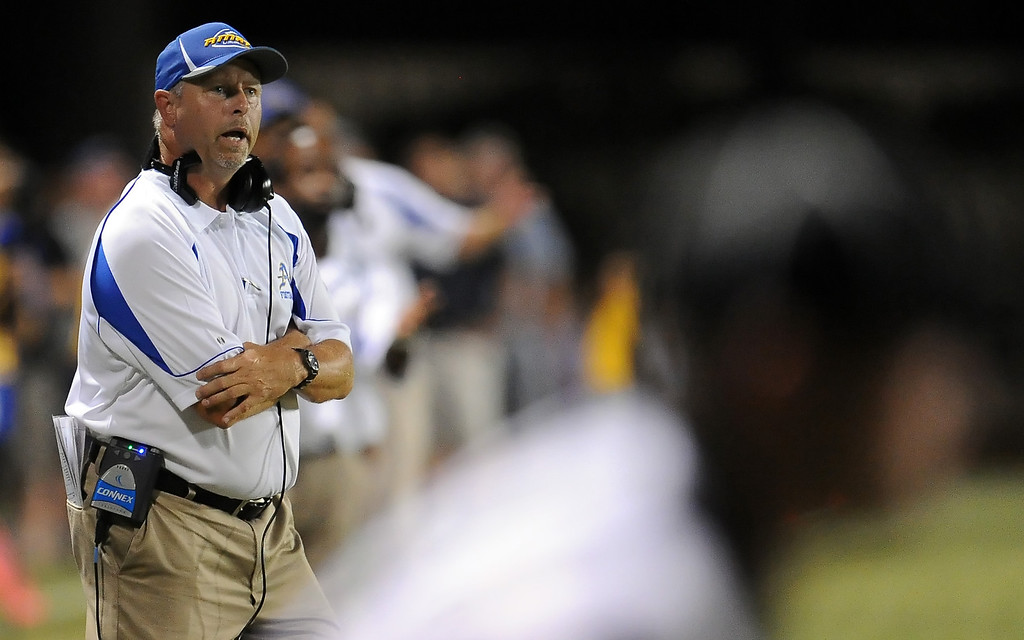 Description of . Bishop Amat head coach Steve Hagerty against Santa Margarita in the first half of a prep football game at Bishop Amat High School on Friday, Aug. 30, 2013 in La Puente, Calif.   (Keith Birmingham/Pasadena Star-News)