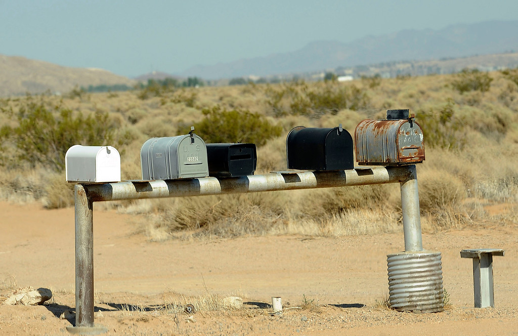 Description of . A view of a mail boxes along the side of a road in the community of Hinkley June 13, 2012.  GABRIEL LUIS ACOSTA/STAFF PHOTOGRAPHER.  .