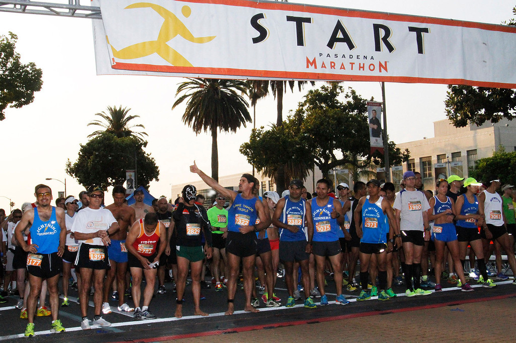 Description of . Participants line up for the start of the half marathon race on Colorado boulevard, during the 5th Annual Pasadena Marathon Event, at Pasadena City College, in Pasadena, Sunday, June 30, 2013. (SXCITY/Correspondent Photo by James Carbone)