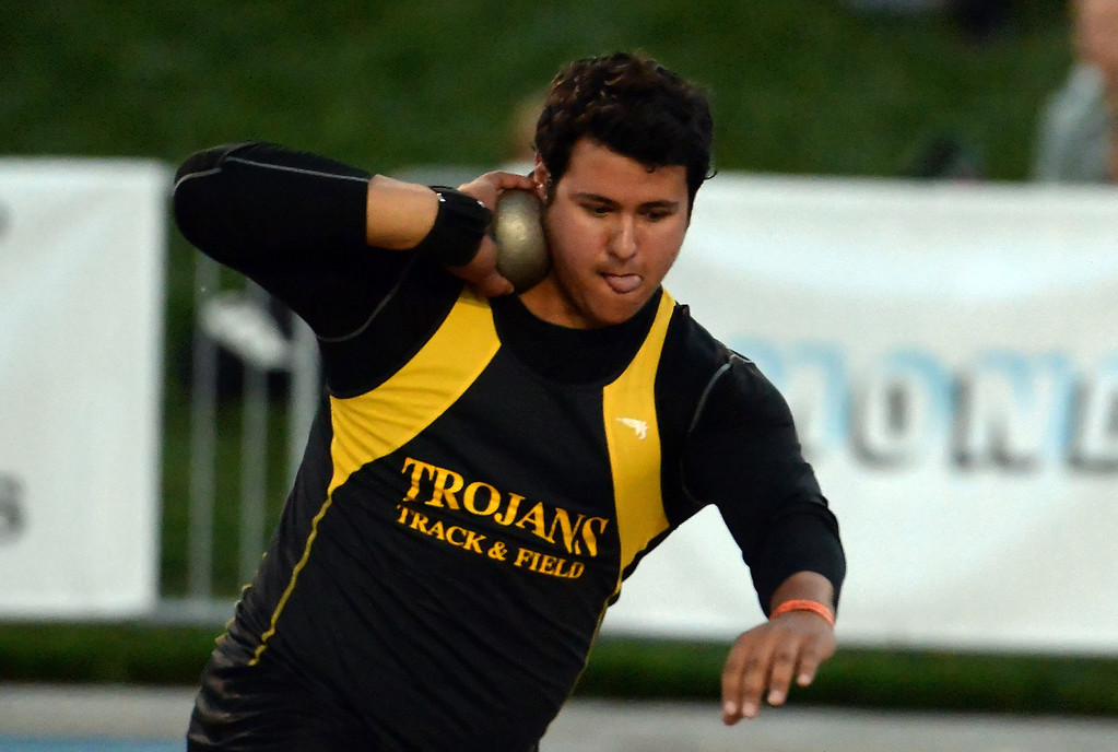 Description of . Yucca Valley's Trevor Gorwin competes in the during shot put CIF California State Track & Field Championships at Veteran's Memorial Stadium on the campus of Buchanan High School in Clovis, Calif., on Saturday, June 7, 2014.   (Keith Birmingham/Pasadena Star-News)
