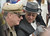 SAN PEDRO, CALIF. USA -- A Franklin Delano Roosevelt impersonator chats with a Gen. Douglas MacArthur impersonator greets visitors during the 70th. birthday celebration of the USS Iowa in San Pedro, Calif. on February 17, 2013.
