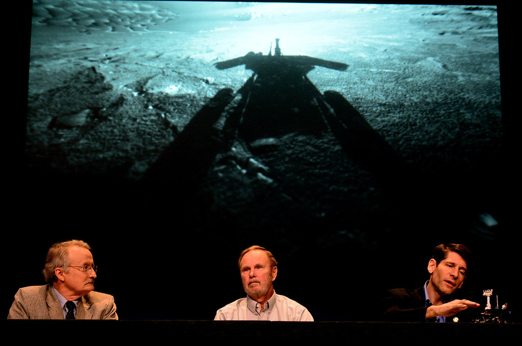 Description of . From left, Guy Webster, of JPL media relations, Ray Arvidson, Mars Exploration Rovers deputy principal investigator, and John Callas, Mars Exploration Rovers project manager,  talk about Opportunity's 10 years of exploring Mars at NASA's JPL in Pasadena Thursday, January 23, 2014. The rover was built for a three-month mission.  (Photo by Sarah Reingewirtz/Pasadena Star-News)