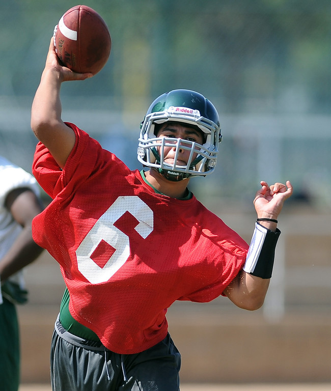 Description of . QB Garrett Fonseca during morning practice at South Hills High School on Friday, Aug. 9, 2013 in West Covina, Calif.   (Keith Birmingham/Pasadena Star-News)