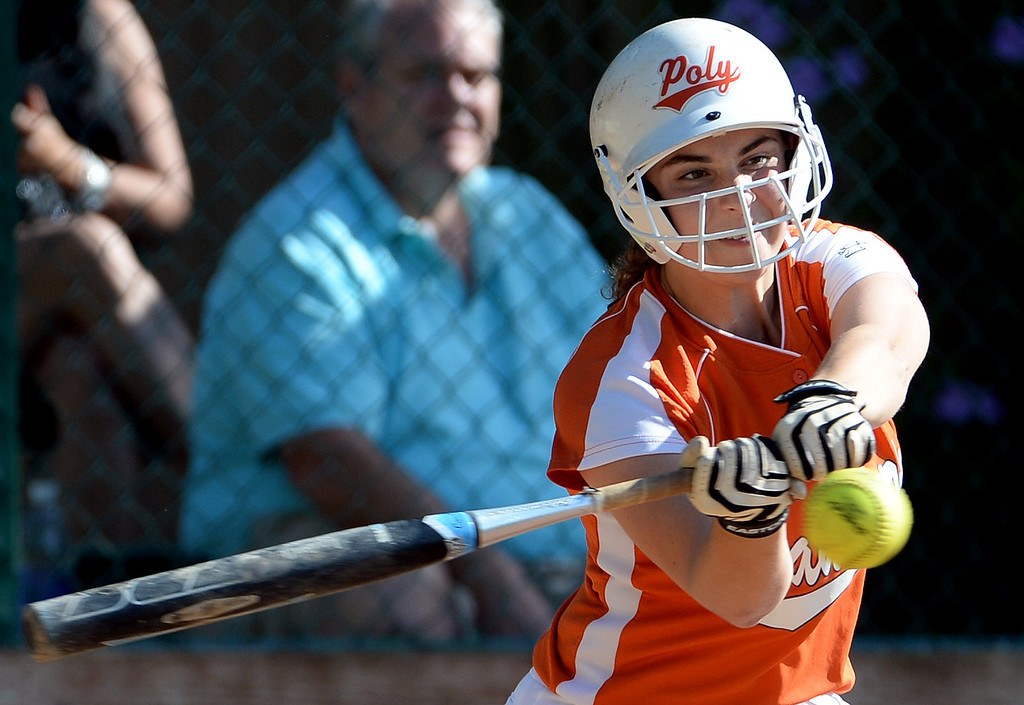 Description of . Poly's Natalie Edwards RBI double against Westridge in the fourth inning of a prep softball game at Westridge High School in Pasadena, Ca on Tuesday, April 15, 2014. Poly won 11-1. (Keith Birmingham Pasadena Star-News)