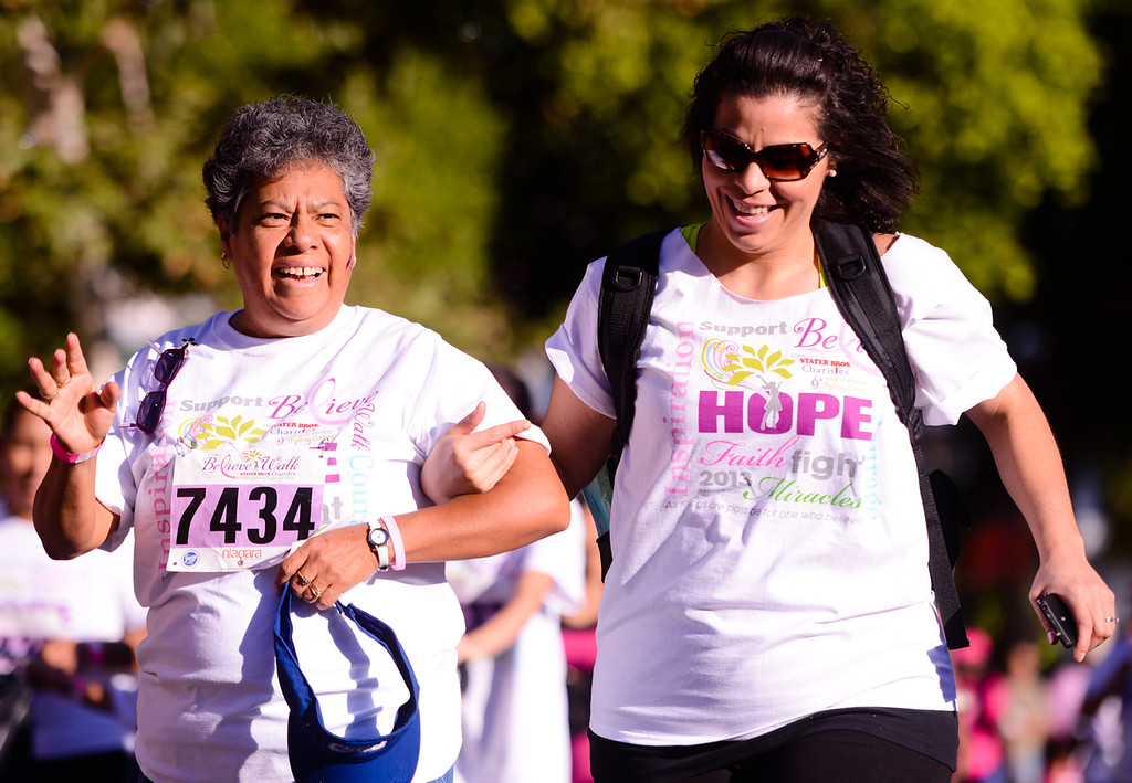 Description of . Breast cancer awareness supporters participate in the 6th annual Believe Walk in downtown Redlands on Sunday, Oct. 6, 2013. More than 10,000 people participated walk presented by Stater Bros. Charities and Inland Women Fighting Cancer. (Photo by Rachel Luna / San Bernardino Sun)