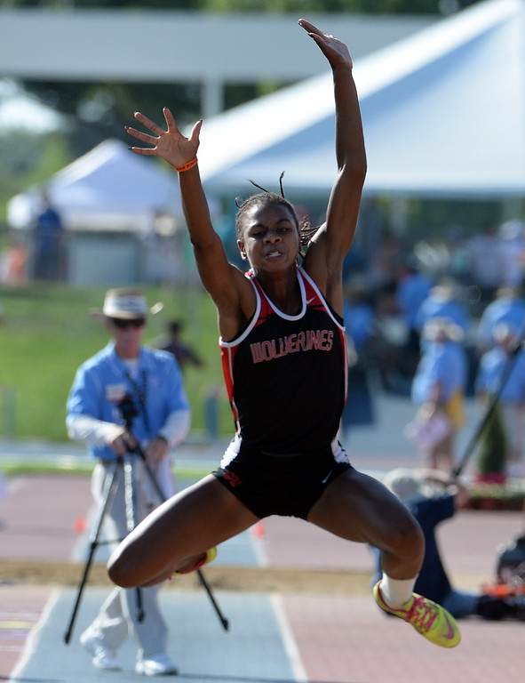 Description of . Harvard Westlake's Courtney Corrin competes in the during the CIF California State Track & Field Championships at Veteran's Memorial Stadium on the campus of Buchanan High School in Clovis, Calif., on Saturday, June 7, 2014. 