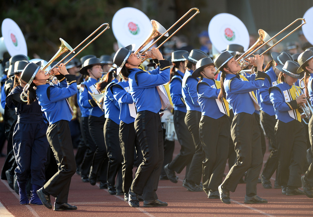 Description of . The Nagoya Minami High School Green Band from Nagoya, Aichi, Japan performs during the 34th Annual Pasadena Tournament of Roses Bandfest at Pasadena City College on Monday December 30, 2013. (Staff Photo by Keith Durflinger/Pasadena Star-News)