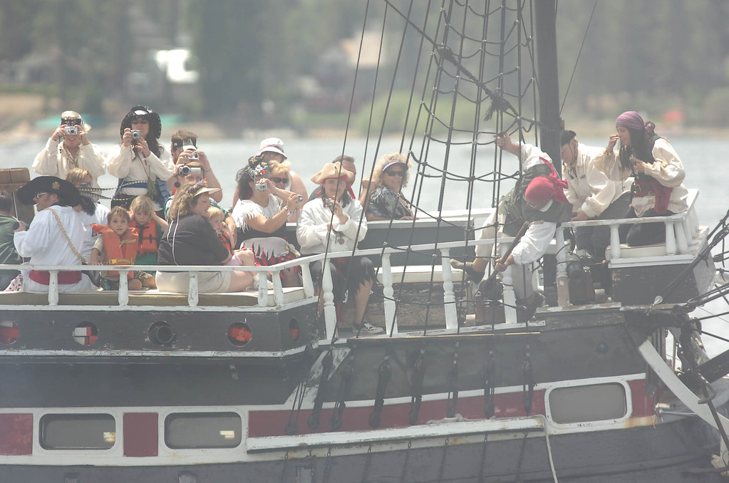 Description of . The Big Bear Pirate Ship, a 1/3 scale replica of a 16th Century Spanish Galleon sunk in Big Bear Lake, apparently due to weather, sometime between Friday evening and Saturday morning at Holloway's Marina. (Staff file photo/The Sun)