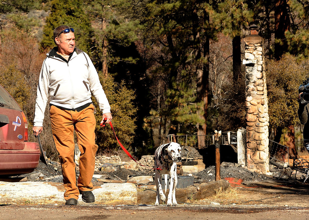 Description of . Rick Heltebrake, 61, of Angeles Oaks, walks with dog Suni, by the burned out cabin which is all that is left of fugitive Christopher Dorner's last stand in Seven Oaks February 15, 2013. Heltebrake's had his 2008 Dodge Ram truck carjacked by Dorner on Glass Road, prior to Dorner's last stand with police.