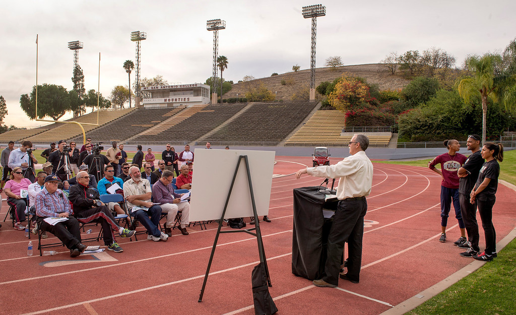 Description of . Director of athletic special events Doug Todd speaks during a press conference announcing the renovation of Mt. SAC's Hilmer Lodge Stadium at the Walnut campus Dec. 2, 2013.  The renovation would qualify the stadium to apply for consideration as the track and field venue of the 2020 Olympics.    (Staff photo by Leo Jarzomb/San Gabriel Valley Tribune)