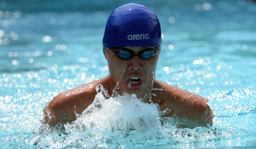 Description of . Ayala's Hunter Sa-Nguansap competes in the 200 yard IM during the Division 2 CIF Southern Section Swimming Championships in the Riverside Aquatics Complex at Riverside City College in Riverside, Calif., on Saturday, May 17, 2014.