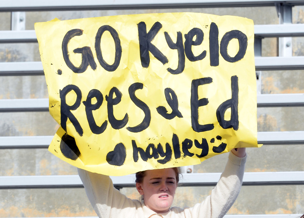 Description of . A Diamond Bar fan holds a sign in the first half of a CIF-SS quarterfinal prep playoff soccer match against Baldwin Park at Diamond Bar High School in Diamond Bar, Calif., on Thursday, Feb.27, 2014. Baldwin Park won 2-1. (Keith Birmingham Pasadena Star-News)