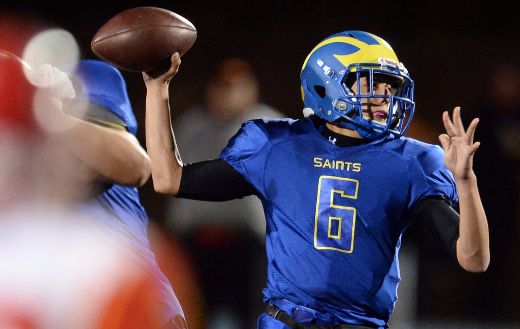Description of . San Dimas quarterback Josh Avila (6) passes against Paraclete in the first half of a CIF-SS Mid-Valley Division championship football game at San Dimas High School in San Dimas, Calif., on Friday, Dec. 6, 2013.   (Keith Birmingham Pasadena Star-News)
