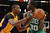 Lakers Dwight Howard defends against Celtics' Brandon Bass during first half action at Staples Wednesday.  Photo by David Crane/Staff Photographer