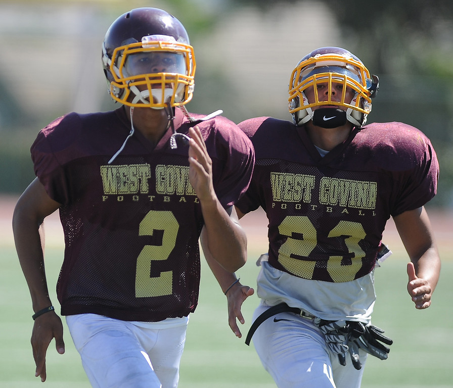 Description of . WR/DB Sidney Jones (2) during football practice at West Covina High School on Tuesday, Aug. 20, 2013 in West Covina, Calif.   (Keith Birmingham/Pasadena Star-News)