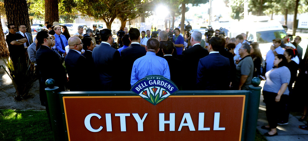 Description of . Regional elected officials speaks during a press conference calling for Senator Ron Calderon to resign his position in the California State Senate in front of the Bell Gardens City Hall in Bell Gardens , Calif., on Wednesday, Nov. 13, 2013.   (Keith Birmingham Pasadena Star-News)