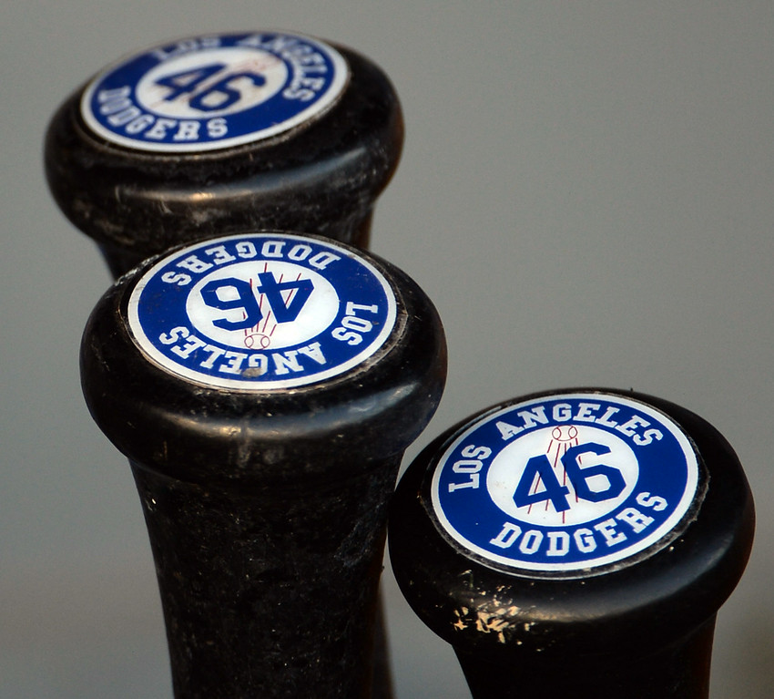 Description of . Baseball bats  prior to a Major league baseball game between the San Diego Padres and the Los Angeles Dodgers on Saturday, July 12, 2014 in Los Angeles.   (Keith Birmingham/Pasadena Star-News)