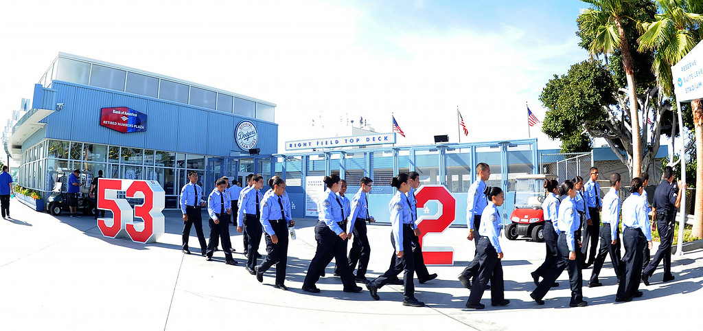 Description of . Los Angeles cadets walk outside the stadium prior to a Major league baseball game between the San Diego Padres and the Los Angeles Dodgers on Saturday, July 12, 2014 in Los Angeles.   (Keith Birmingham/Pasadena Star-News)
