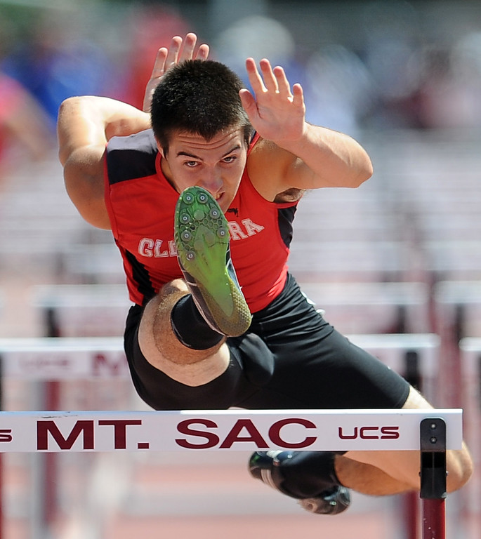 Description of . Glendora's Cade Lindsey in the 100 meter high hurdles during the CIF-SS track & Field championship finals in Hilmer Stadium on the campus of Mt. San Antonio College on Saturday, May 18, 2013 in Walnut, Calif.  (Keith Birmingham Pasadena Star-News)