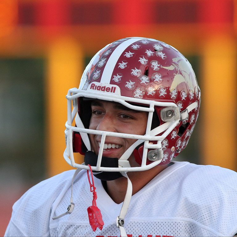 Description of . La Serna's Frankie Palmer (19) before the 35th Annual Hall of Fame All-Star Football Game at West Covina High School in West Covina, CA on Friday, May 16, 2014. (Correspondent Photo by David Thomas for the Pasadena Star News)