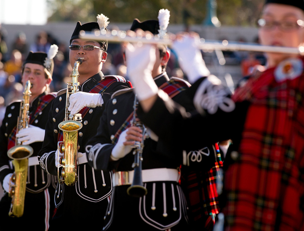 Description of . Glendora Tartan Band and Pageantry of Glendora, Calif. performs during the Pasadena Tournament of Roses Bandfest I at Pasadena City College Dec. 29, 2013.   (Staff photo by Leo Jarzomb/Pasadena Star-News)