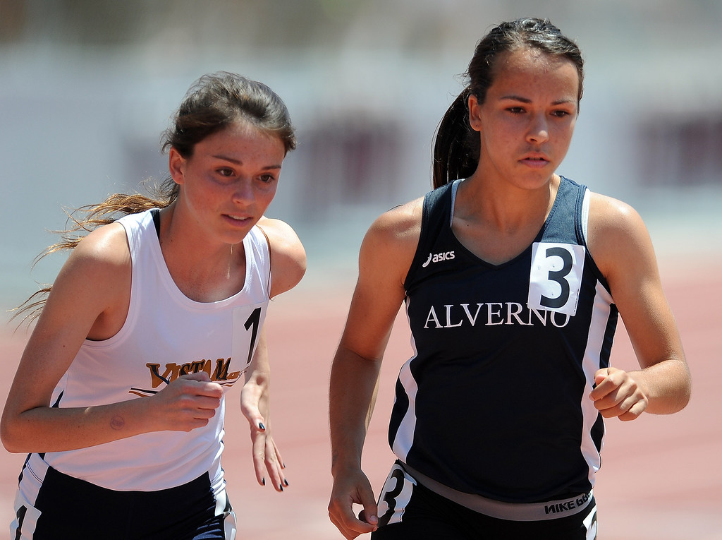Description of . Alverno's Eryn Blakely in the 1600 meters race during the CIF-SS track & Field championship finals in Hilmer Stadium on the campus of Mt. San Antonio College on Saturday, May 18, 2013 in Walnut, Calif.  (Keith Birmingham Pasadena Star-News)