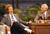 Talk show host David Letterman, left, gestures while talking with Johnny Carson during a taping of the