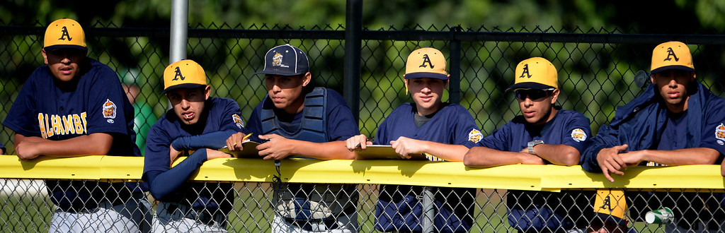 Description of . Alhambra bench looks on in the fourth inning of the Arcadia Elk Baseball Tournament against Alhambra at Monrovia High School in Monrovia, Calif., on Thursday, March 13, 2014. Monrovia won 2-0.  (Keith Birmingham Pasadena Star-News)