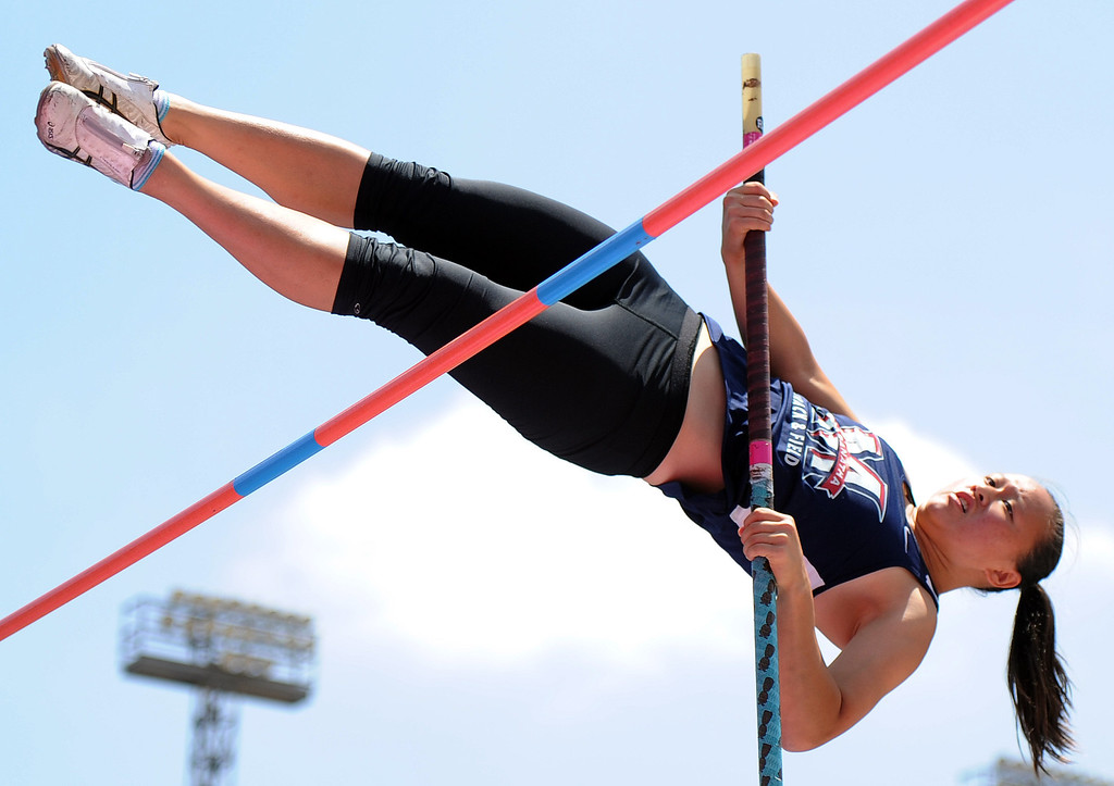 Description of . Maranatha's Zoe Wilkens in the pole vault during the CIF-SS track & Field championship finals in Hilmer Stadium on the campus of Mt. San Antonio College on Saturday, May 18, 2013 in Walnut, Calif.  (Keith Birmingham Pasadena Star-News)