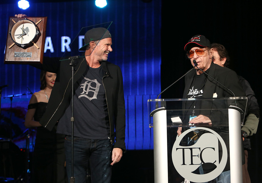Description of . ANAHEIM, CA - JANUARY 24: Drummers Chad Smith and Hal Blaine attend the NAMM Tec Awards at the Anaheim Hilton on January 24, 2014 in Anaheim, California.  (Photo by Jesse Grant/Getty Images for NAMM)