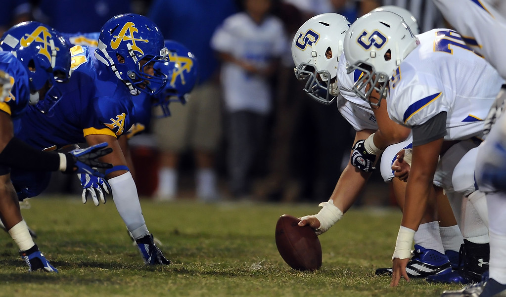 Description of . Charter Oak vs. Charter Oak during a prep football game at Bishop Amat High School in La Puente, Calif. on Friday, Sept. 20, 2013.    (Photo by Keith Birmingham/Pasadena Star-News)