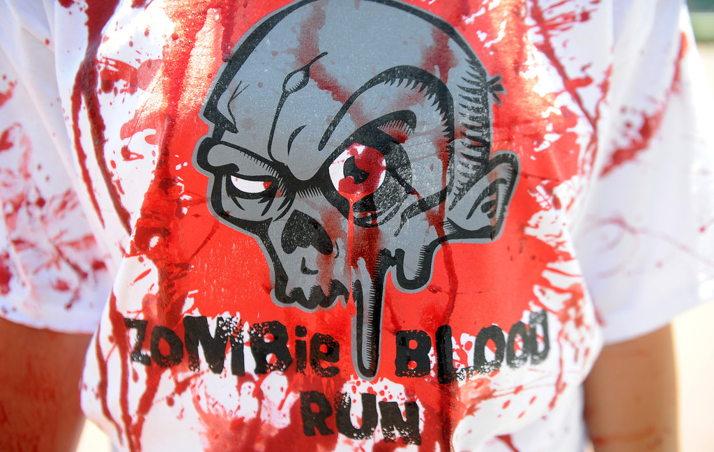 Description of . The Zombie Blood Run at Santa Anita Park on Saturday, Aug. 17, 2013 in Arcadia, Calif. The American Red Cross San Gabriel Pomona Valley chapter is partnering with the Zombie Blood Run to prepare the San Gabriel Valley for a disaster, even a zombie apocalypse.  (Keith Birmingham/Pasadena Star-News)