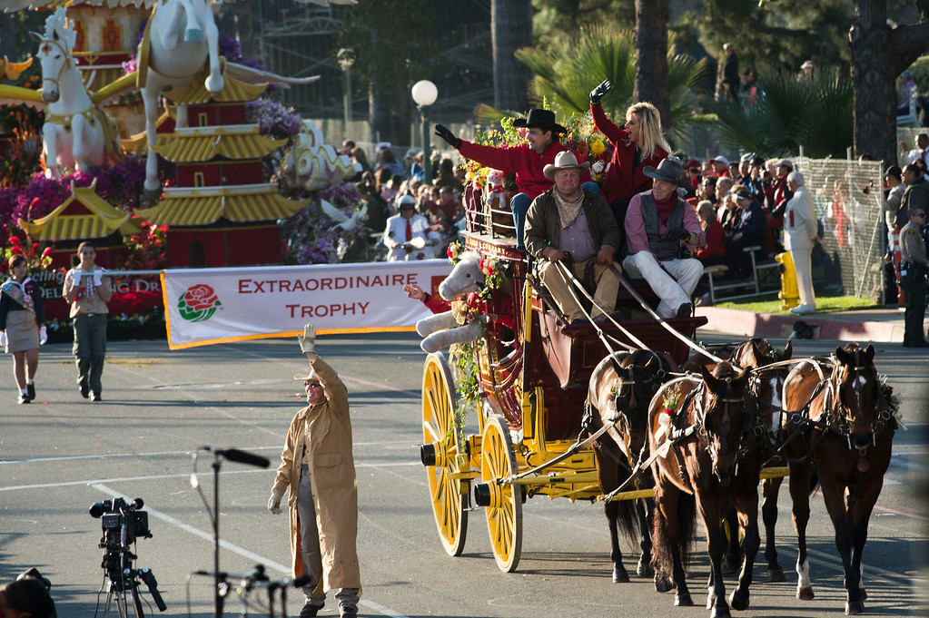 Description of . Wells Fargo Equestrian during 2014 Rose Parade in Pasadena, Calif. on January 1, 2014. (Staff photo by Leo Jarzomb/ Pasadena Star-News)