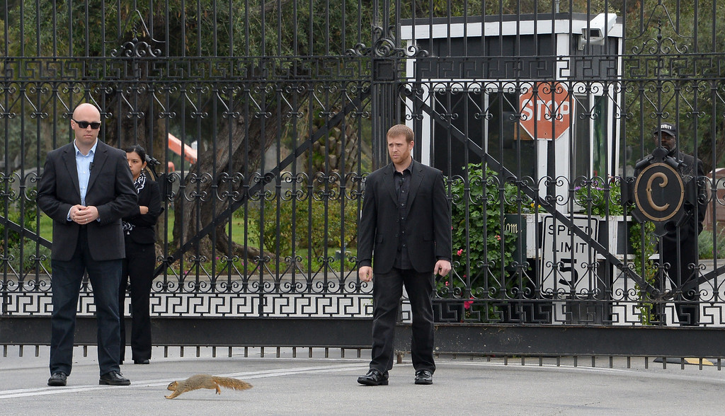 Description of . A squirrel runs before security men guarding the main gate to Hollywood Forever Cemetery during the funeral of Mick Jagger's  girlfriend LWren Scott  in Hollywood, California on March 25, 2014.  The model-turned-fashion designer was found hanged in her luxury New York apartment last week. She was 49. The cemetery was closed for the roughly one-hour service, held amid tight security.           (JOE KLAMAR/AFP/Getty Images)