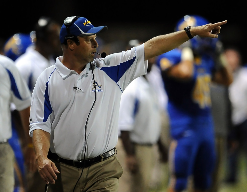 Description of . Bishop Amat's head coach Steve Hagerty in the first half of a prep football game against Charter Oak at Bishop Amat High School in La Puente, Calif. on Friday, Sept. 20, 2013.    (Photo by Keith Birmingham/Pasadena Star-News)