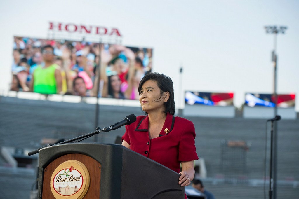 Description of . Congresswoman Judy Chu speaks during the 88th Annual Fourth of July Celebration, Americafest at the Rose Bowl in Pasadena Friday night, July 4, 2014. (Photo by Sarah Reingewirtz/Pasadena Star-News)